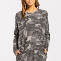 French Terry Camo Tunic - Gray