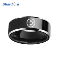 SHARDON 8mm Black Beveled Two-Toned Tungsten Carbide comfort fit white laser Pittsburgh steelers design Outdoor Ring for Men