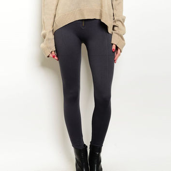 Zip Up High Waist Fleece Leggings in Gray