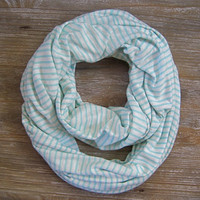 Striped Infinity Scarf Eternity Scarf Endless Loop Scarf Circle Scarf Cream Mint Stripe Casual T-shirt Knit Scarf Teen Gift Ready To Ship