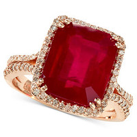 Rosa by EFFY 14k Rose Gold Ring, Emerald-Cut Ruby (7-5/8 ct. t.w.) and Diamond (1/2 ct. t.w.) Ring - Rings - Jewelry & Watches - Macy's