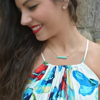 THE LARUE BAR NECKLACE - TURQUOISE