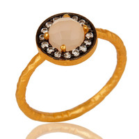 Dyed Rose Chalcedony And CZ 14K Yellow Gold Plated Sterling Silver Stacking Ring
