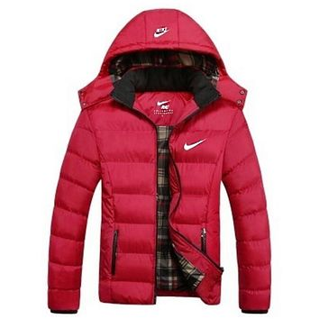 """""""NIKE"""" Women Men Fashion Long Sleeve Cardigan Bread Down Coat Cotton-padded Clothes Jacket Red"""