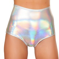High-Waist Holographic Booty Shorts