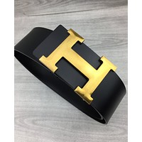 Hermes Tide brand women's simple H buckle wild fashion belt Black