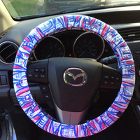 "Steering Wheel Cover made with Lilly Pulitzer's ""Red Right Return"" fabric"