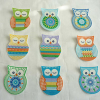 Owl Fabric Iron On Appliques Set of 9