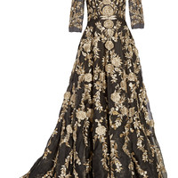 Marchesa - Embellished appliquéd silk-organza gown
