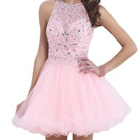 VILAVI Womens A-line Round Brought Short Tulle Open Back Prom Dresses 4 Pink