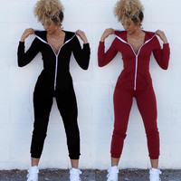 One Piece Outfits Jumpsuits Long Sleeve Bodycon Front Zipper Hooded Long Pants