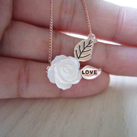 rose gold necklace,rose necklace,Roses and leaves, carving love letters,romantic necklace,best gift for you or lover
