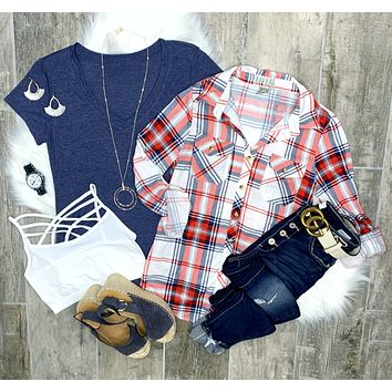 Penny Plaid Flannel Top - Red/White/Blue