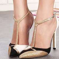 Hot style hot selling water diamond matching color pointed shallow heels shoes