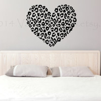 Cheetah print heart wall decal, home decor, wall sticker, wall graphic, decal, houswares, living room decal, vinyl decal, wall art