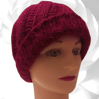 Red Hat, Sequin Hat, Maroon Hat, Winter Hat, Shimmery Hat, Snow Hat, Warm Hat, Chunky Hat, Colorful Hat, Knitted Hat, Thick Hat