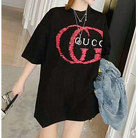"""Gucci""Women Casual Wild Fashion Letter Print  Round Neck Short Sleeve Tops"