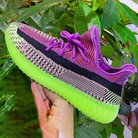 ADIDAS YEEZY 350 New Style Sneakers Purple With Camouflage green soles Print Shoes