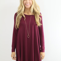 Royal Tower Piko Maroon Long Sleeve Basic Dress