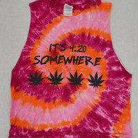 Tie Dye Shirt Pot Leaf Tank Hippie Soft Grunge Small Psychedelic Womens Clothing Handmade Cutoff Sleeveless 420 Lilac Turquoise Funky