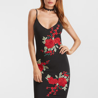 Black Embroidered Rose Scoop Back Bodycon Dress