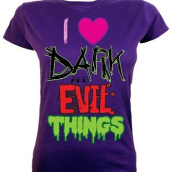 I Love Dark & Evil Things Ladies Purple T-Shirt