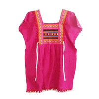 """Hot pink shirt Tribal shirt blouse with strap hill tribal Korean style Bust 40"""" Square collar shirt ,pom pom shirt Embroidered shirt women"""