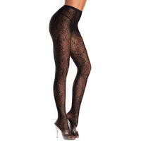 Be Wicked Black Spiderweb Print Pantyhose