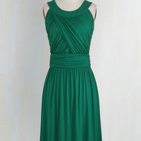 Mid-length Sleeveless A-line So Happy to Gather Dress in Fern