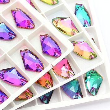 Top Quality Brilliant Color Sew on Rhinestone Applique  crystal stones Flat Back for clothing /jewelry design DIY/ craft  dress