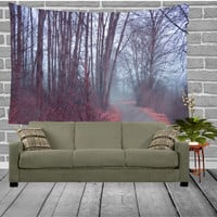 Wall Tapestry - Walk in the Park - Home, Wall, Decor, Modern, Home Warming Gift, Park, Walk, Autumn, Fog, Foggy, Morning, Mist, Scenic, Tree