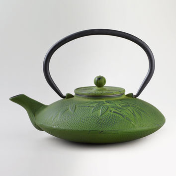 Green Bamboo Cast Iron Teapot - World Market