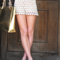 RESTOCK Fierce And Floral Lace Shorts: Ivory | Hope's