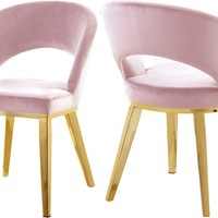 Roberto Pink Velvet Dining Chair