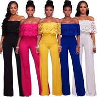 Lace Crochet Slash Neck Wide Leg Jumpsuit Plus Size Fashion Women Short Sleeve Ruffles Long Pant Rompers Backless Club Coverall