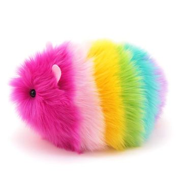 Girly Rainbow Guinea Pig Stuffed Animal Plush Toy - 6x10 Inches Large Size