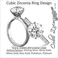 Cubic Zirconia Engagement Ring- The ________ Naming Rights 1613 (1.80 TCW 6-Prong Round Cut with Princess Channel Band)