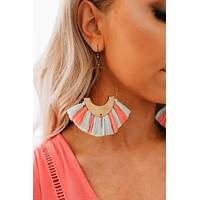 Just For Fun Hoop Earrings (Mint/Coral)