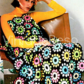 EASY CROCHET FLOWER Garden Afghan Pattern Instant Download 1970s Cover Blanket Throw Bohomian Home Decor
