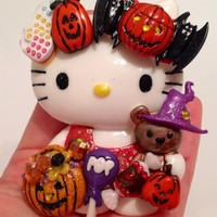 Halloween Treats Hello Casting Kitty and Teddy Embellished Cabochon