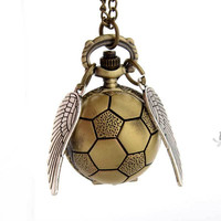 Harry Potter Snitch Watch Pendant Necklace Steam punk Quidditch Wings