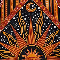 Sun Moon Psychedelic Indian Tapestry Wall Art, Celestial Hippie Wall Decor