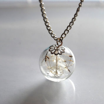 Dandelion Necklace Make Dandelion Seeds A Wish Glass Bead Orb Silver Necklace Botanical  Globe Beadwork