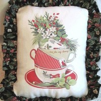 Stacked Holiday Tea Cups Accent Pillow