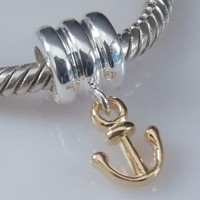 Everbling Anchor Dangle 925 Sterling Silver Bead Fits Pandora Charm Bracelet
