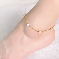Sexy Gold Tone Love Heart Foot jewelry heart anklets for women girl  jewelry Chain SM6