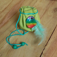 Boho leather pouch, Rainbow leather pouch bag, Hippie pouch, Coin purse, Herbs pouch, Crystal pouch, Amulet bag, Leather drawstring pouch