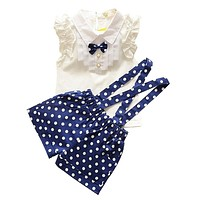 Girls Clothes Baby Girl Summer Clothing Sets 2 PCs Sleeveless Blouse+Bib Pants Outfits Toddler Girl Casual Clothes