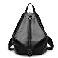 Back To School Casual Punk Zippers Unisex Leather Backpack [6581506503]