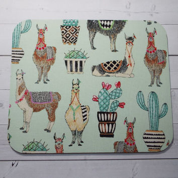llamas Mouse Pad mousepad / Mat - round -  Computer Accessories Geekery Custom Desk Coworker Gifts Office Gifts